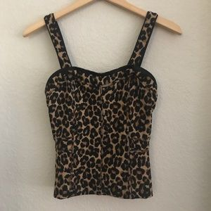 WHBM Leopard Body Con Stretch Sweetheart Top 0 $68